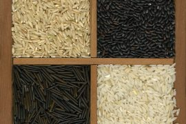 Four rice grains background