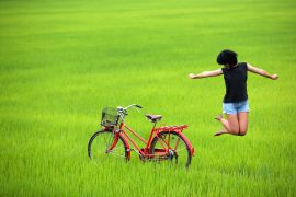Happy girl jumping in paddy field