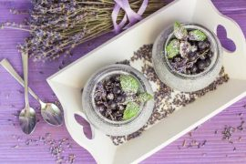 A pudding with Chia seeds, blueberries and lavender. Shallow depth of field