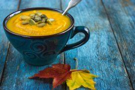 pumpkin soup on a bowl