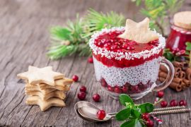 Festive breakfast of cranberry sauce and pudding chia seeds