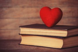 Heart shape and retro book.