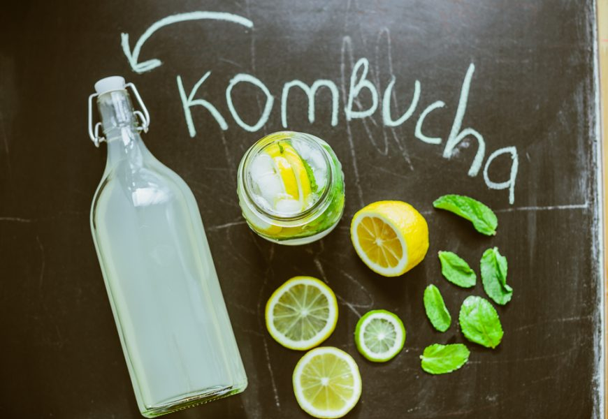 Top view on homemade Kombucha with fruits