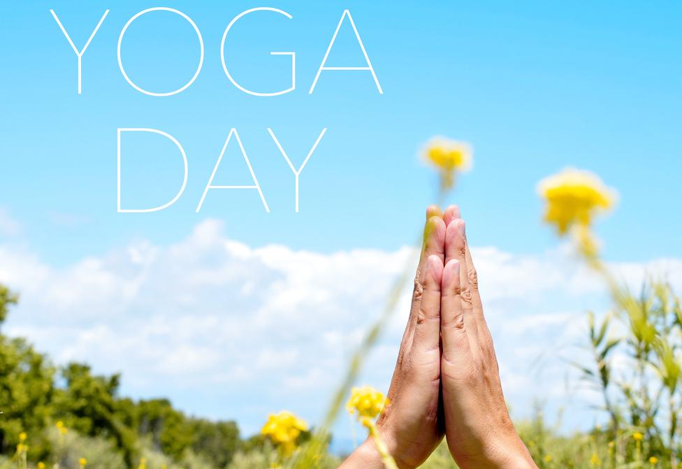 text yoga day and yogi man meditating outdoors