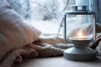lantern on windowsill