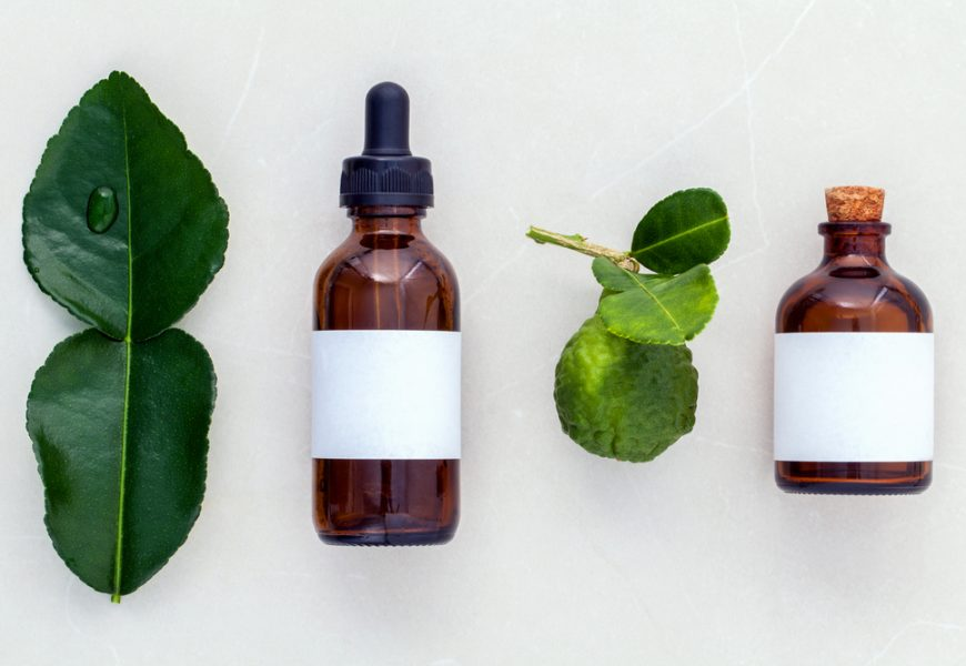 Alternative health care fresh  kaffir llime leaves and oils on m