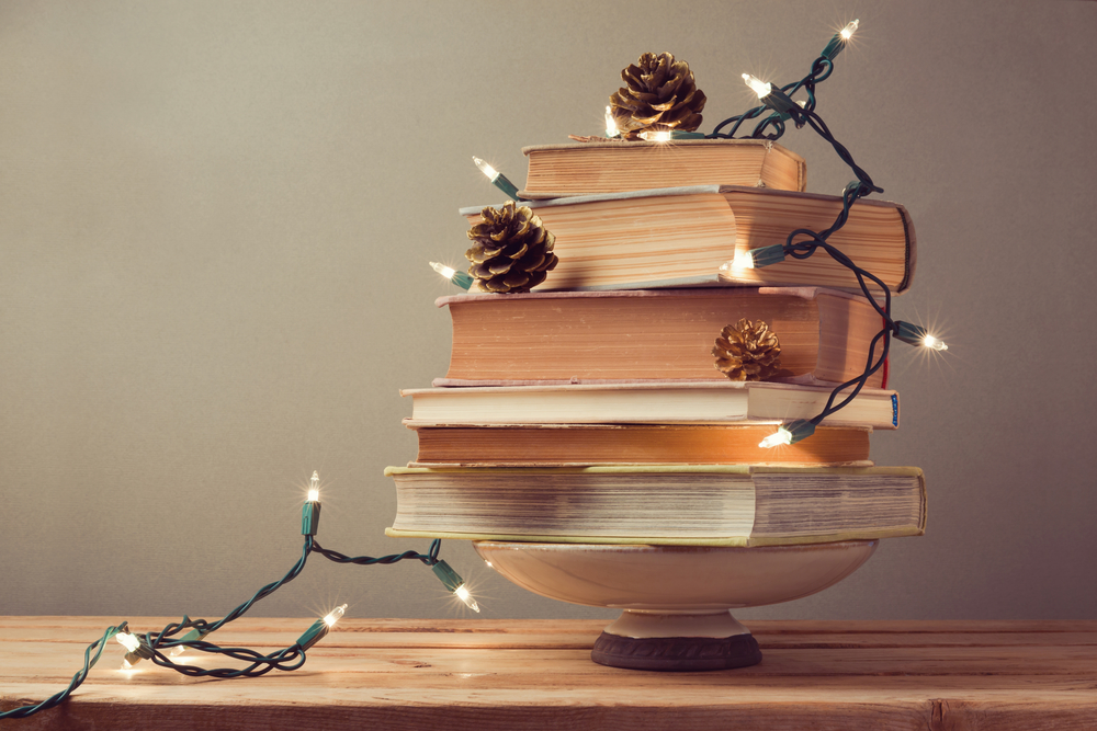 Christmas tree made from books. Alternative Christmas tree