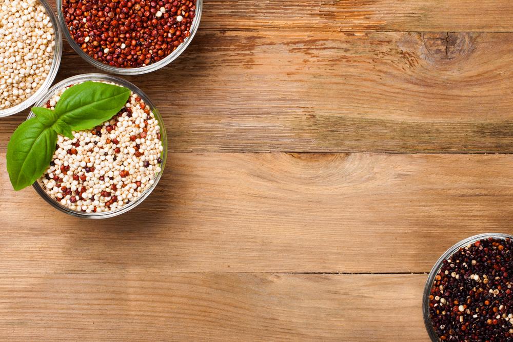 White, red, black and mixed raw quinoa grain