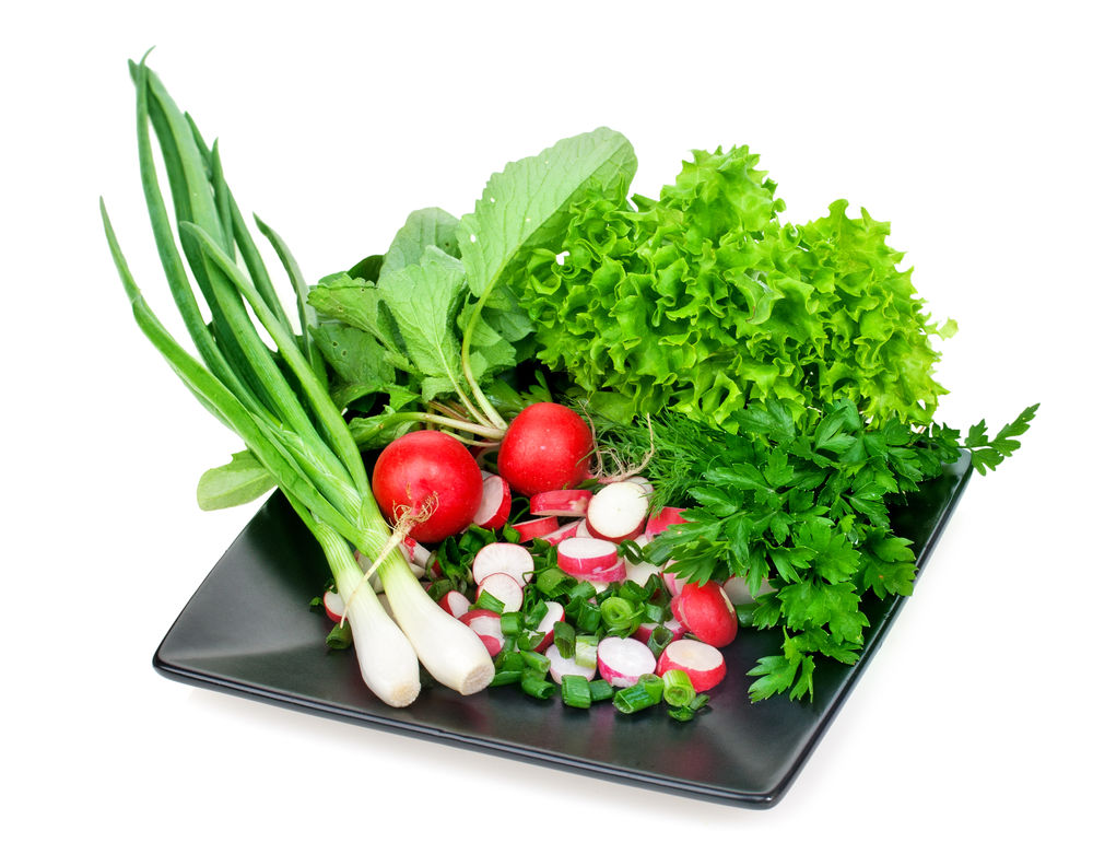 Fresh herbs - onions, radishes, lettuce and parsley on a plate i