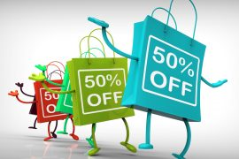 Fifty-Percent Off Bags Show Sales, Bargains, and Discounts