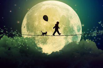 Мальчик и кошка на фоне луны